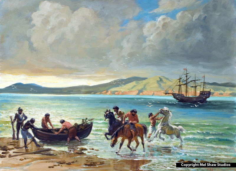 Mel Shaw - Cabrillo Landing With the Horses
